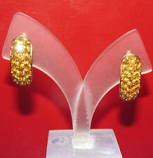 STUNNING SECONDHAN 9 YELLOW GOLD  CITRINE HOOP EARRINGS FOR PIERCED EARS