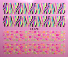 Nail Art 3D Decal Stickers Neon Stripes Hearts Bows Kisses LX124
