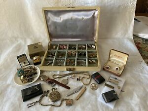 Lot Of Vintage Mens Cufflinks And Accessories