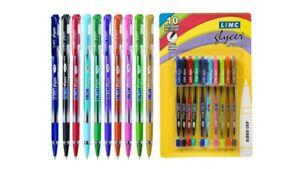10x Linc GLYCER Ball Pen ASSORTED  |0.6 mm | Bright & fast Writing | Elasto grip