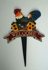 Welcome Chicken Rooster Garden Sign Cast Iron Plaque Cockerel Spike 24cm