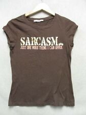 "Z7106 Appropriate Behavior womens brown with gold ""Sarcasm.."" short sleeve tee."