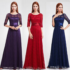 Ever-Pretty Long Lace Sleeve Maxi Bridesmaid Dresses Evening Party Dresses 08878