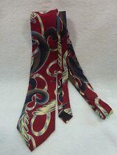 Vintage 1980's Oscar De La Renta Couture Mens Burgandy/Grey/Blue Neck Tie