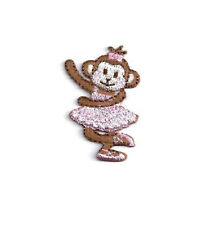 Ballerina - Dance - Monkey - Embroidered Iron On Applique Patch - Pink
