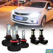 For Chevrolet Sonic Cruze Camaro Colorado 9005 H11 LED Headlight Combo Bulbs Kit