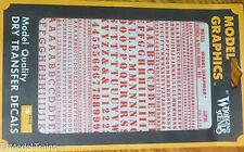 Woodland Scenics #753 Red -Dry Transfer Alphabet & Numbers - Stencil/Block Roman
