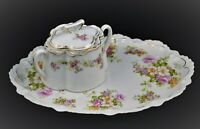 ANTIQUE GERMAN TRAY AND COVERED SUGAR BOWL PINK FLOWERS GOLD