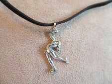 Layback Figure Skater Pewter Charm Faux Suede Necklace - Additional colors
