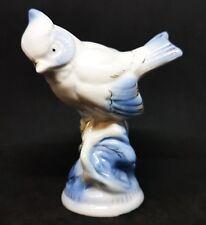 Vintage GZHEL Porcelain Figurine CRESTED TIT Hand Painted gilding USSR 1950s
