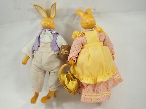 Robert Raikes Hopkins Rabbits, Carved Wood Stuffed Rabbits Signed Limited Editio