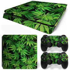PS4 Slim Console and DualShock 4 Controller Skin Set - Weed Natural