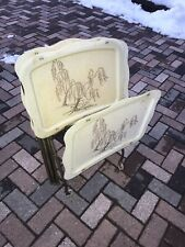 Vintage Set of 4 LaVada Weeping Willow Fiberglass Tv Trays Tables Rol 00004000 ling Stand