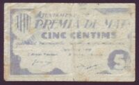 Banknotes Local - Premia Of Mar - 5 Cts Year 1937