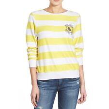 Wildfox women's yacht club pullover, striped, yellow, loose, sweatshirt, s. l