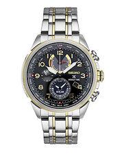 New Seiko Prospex Solar World Time Chronograph Two-Tone Steel Mens Watch SSC508