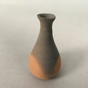 Japanese Ceramic Single Flower Vase Kabin Vtg Pottery Gray Long Neck MFV74