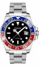 PARNIS GMT-Herrenuhr 2034 RED & BLUE Automatikuhr mit zweiter Zeitzone 40mm