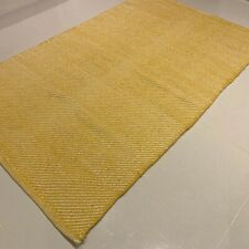 Yellow Handmade Modern Recycled Cotton Rich Washable Kilim Rug 70x115cm -40% RRP