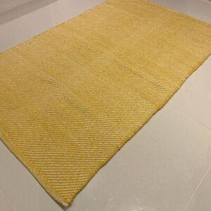 Yellow Handmade Modern Recycled Cotton Rich Washable Kilim Rug 70x115cm -40% RRP