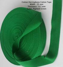 25mm Pigment GREEN Cotton Herringbone Tape Fabric Dress Making sewing Bunting