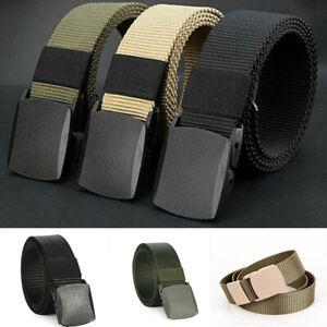 Unisex Men Women Adjustable Canvas Webbing Belt Nylon Belt Plastic Buckle New UK