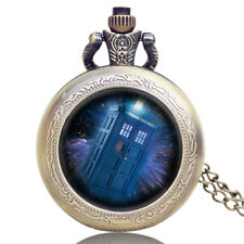 Vintage Steampunk Doctor Who TARDIS Quartz Pocket Watch Chain Mens Retro Gift