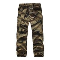 New Men Cargo Pants Camouflage Elastic Waist Trousers Military Army Combat Pants
