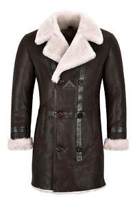 Men Shearling Pea Coat Double Breasted Winter Long Jacket Sheepskin Fur Coat M49
