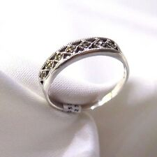 925 STERLING SILVER  MARCASITE PIERRETTA  RING SIZE 10