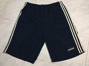 Vintage 80s Adidas Trefoil Navy Nylon Soccer SHORTS RUNNING PANTS Mens Sport L