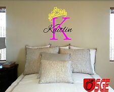 Vinyl Wall Sticker Personalized Monogram Tiara With Initial and name