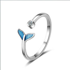 Tail Band Ring For Women Lady 925 Sterling Silver Austrian Crystal Cute Mermaid