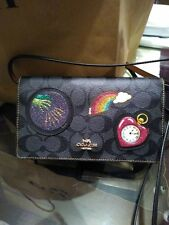 Coach F39268 Wizard of Oz Black Leather Patches Foldover Clutch Crossbody