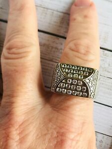 MODERN CHUNKY STERLING SILVER 925 RHODIUM PLATED PAVE CZ GENTS RING SIZE V 1/2