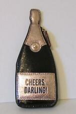 Kate Spade Champagne coin purse bottle black patent zipper new rose gold cork