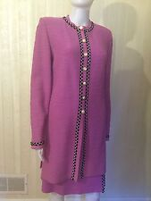 St. John 2 pc Suit Jacket Coat Sweater Skirt Pink Size 6 $1775