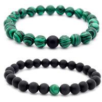 Handmade Natural 8mm Couple Green Matte Malachite Round Gemstone Beads Bracelet