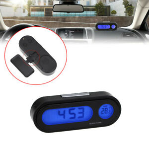 Car Digital LCD Electronic Time Clock 12V Thermometer Watch With Backlight