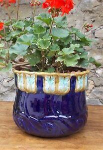antique majolica bowl, cache pot, plant holder, plant pot, French