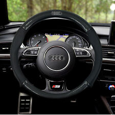 Anti-Slip Black Carbon Fiber Top PVC Leather Steering Wheel Cover for Audi
