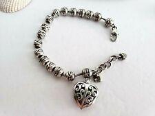 BRIGHTON  Heart Charm Beaded Silver  Bracelet