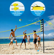 Portable Volleyball Tennis Net Set Adjustable in Height for Outdoor Beach Sports