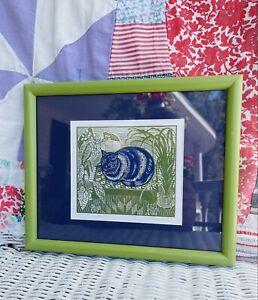 "Vintage Richard Bawden ""Blue Cat"" Linocut Print Artwork 9x11"" Framed Amazing"