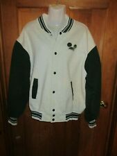 Disney Mickey & Co. Letterman/Varsity Gray/Green Embroidery Size M Jacket  EUC