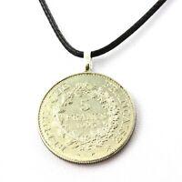 Collier pièce de monnaie France 5 francs Hercule de Dupré