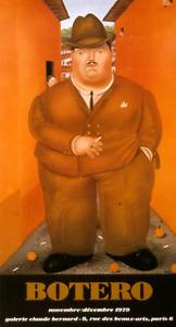 FERNANDO BOTERO Los Cigarros 29 x 16 Poster 1979 Contemporary Orange, Brown Man