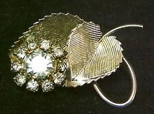Vintage Double Leaf Pin Prong Set Rhinestone Cluster Brooche Brooch Rare