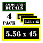 """5.56x45 Ammo Can Labels Ammunition 3""""x1.15"""" stickers decals 4 pack BLYW"""