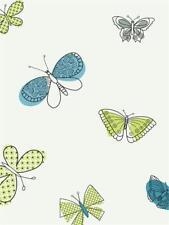 Girls Lime Green and Blue Butterfly / Butterflies Wallpaper Pw4014